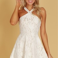 Crossed Fit and Flare Lace Dress Off White