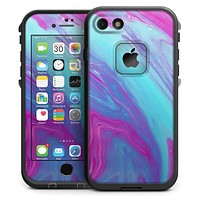 Marbleized Pink Ocean Blue v32 - iPhone 7 LifeProof Fre Case Skin Kit