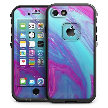 Marbleized Pink Ocean Blue v32 - iPhone 7 LifeProof Fre Case Ski eb6f1454f