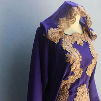 Full Gold Embroidery Purple Caftan Dress for Wedding Bridesmaid Party Summer Maxi Kaftan Dress