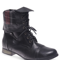 Plaid Peek-a-Boo Foldover Combat Boots | Wet Seal