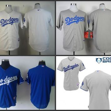 Los Angeles Dodgers blank Jersey White Grey Blue Cream Stitched Authentic Throwback Baseball Jersey Embroidery Logo S-4XL