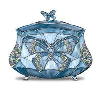Louis Comfort Tiffany-Style Beauty Takes Wing Collectible Butterfly Music Box by The Bradford Exchange