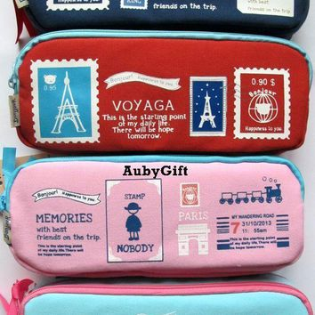 Paris Bonjour Memories Beauty Cosmetic / MakeUp Bag / Pencil Pen Case / Pouch