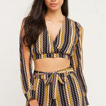 Patterned Deep V Crop Top