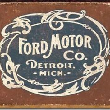 FORD MOTOR COMPANY Historic Logo METAL TIN SIGN New Vintage Style DETROIT MICH