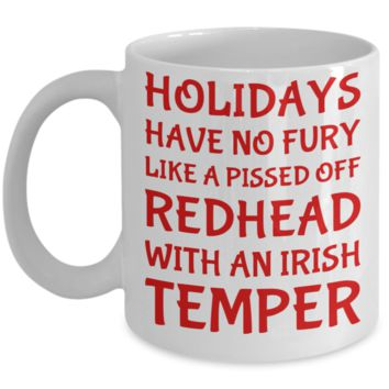 Holiday Christmas Mug Gift For Redhead Irish Girls - Xmas Inspiration Gift For Her, Mom, Grandma, Sister, Girlfriend - 11oz White Ceramic Cup for Cocoa, Coffee, Tea, Cookies & Ginger Bread