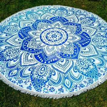 Round Beach Throw Mandala - Outdoor Decor  - Beach Life - Boho - Hippie Decor - Picnic Throw - Beach Blanket - Home Rug - Tablecloth - 3067