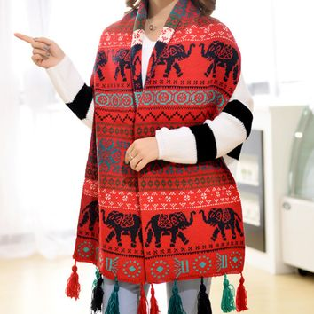 Ethnic Geometric Elephant Scarf Wrap Shawl Cape