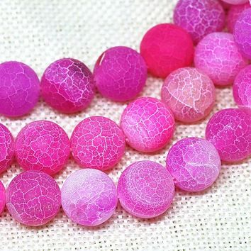 Natural Stone Pink Weathered Agate Round Loose Beads Pick Size 4/6/8/10/12MM For Jewelry Making DIY