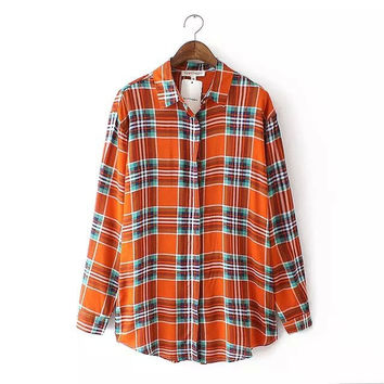 Plaid Button Long-Sleeve Collared Shirt
