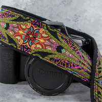 dSLR Camera Strap, Istan Paisley, Camera Neck Strap, Canon or Nikon Camera Strap, Pocket, Quick Release, SLR, 120 ww