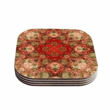 "Justyna Jaszke ""Mandala Love Art"" Red Pastel Abstract Pattern Digital Illustration Coasters (Set of 4)"