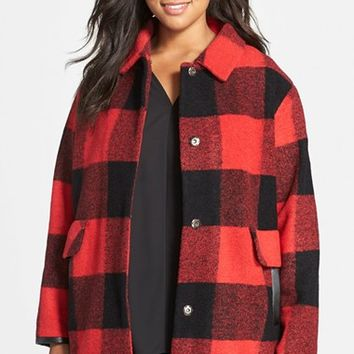 Plus Size Women's Pendleton Buffalo Plaid Wool Blend Barn Coat ,