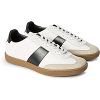 Saint Laurent - Suede-Trimmed Leather Sneakers | MR PORTER