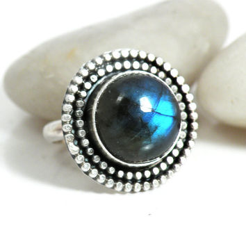 Blue Labradorite Ring Sterling Silver Stone Medallion Size 8 Ring Rustic Oxidized Jewelry - Medallion Ring