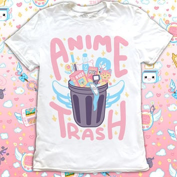 Anime Trash T-Shirt Magical Girl Kawaii Mahou Shoujo Harajuku Pastel Goth Angel Wing Japanese Cute Shirt Pocky Cosplay Video Game Shirt