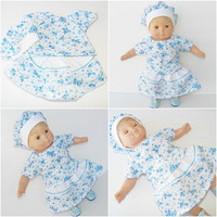 "CABBAGE PATCH DOLL Clothes, Cabbage Patch 14 inch Doll Clothes or 15"" bitty baby doll clothes- blue floral skirt, blouse, and hat"