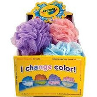 Crayola - Color Changing Scrubby - (I Change Color in Water) - Orange - Mesh Sponge - Pouf - 1 Count