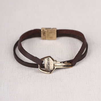 Strength is Key Vegan Leather Bracelet