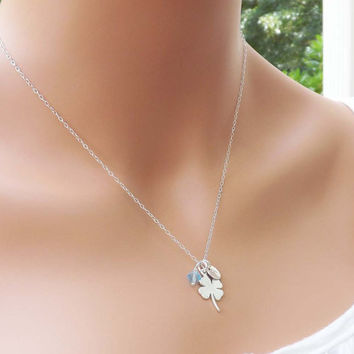 Clover Pendant personalized necklace - Sterling Silver Chain - Birthday, Wedding, Graduation, Mother, Sister, Bridesmaid, best friend