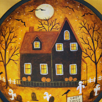 Lost Souls Lodge Halloween Folk Art Hand Painted Primitive Wood Bowl - Haunted House,  Ghosts, Full Moon, Bats, Pumpkins, Spooky Trees, Cats