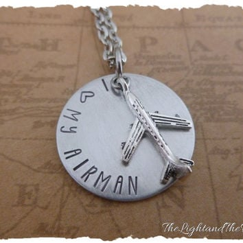 Hand Stamped Military Jewelry  I love my Airman  Necklace  Stamped metal necklace  airman  pilot  airforce  USAF  military wife