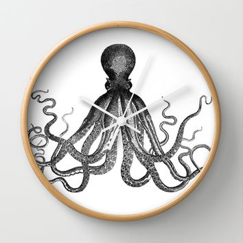 Antique Nautical Steampunk Octopus Vintage Victorian Kraken sea monster emo goth drawing Wall Clock by IGallery