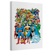 Justice League The Whole Gang Stretched Canvas Wall Art