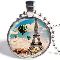 Paris Necklace, Vintage Paris Pendant, Paris Jewelry, Eiffel Tower, Hot Air Balloon Jewelry, French Necklace, Glass Picture Pendant (PP02)