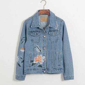 2017 new fashion women retro light dark blue casual denim coats female buttons loose flower embroidery jeans jacket outerwear
