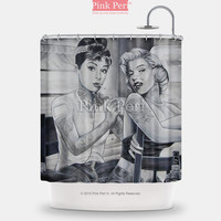 Marilyn Monroe and Audrey Hepburn Tattoo Shower Curtain Home & Living 145