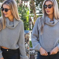 Grey Cowl Neck Crop Top
