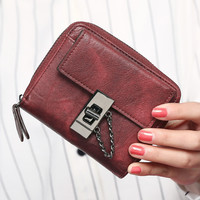 New European and American wallet vintage women wallet brand small lock design women purse small zipper coin purse freeshipping