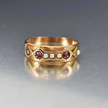 Antique Rose Gold Pearl Ruby Wedding Band Ring