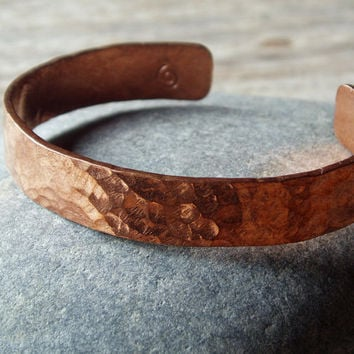hammered copper cuff - artisan hammered copper bracelet - for men and women - select sizes