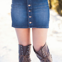 Country Calling Denim Button Up Skirt (Dark Wash)