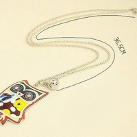 Fashion Cute Vintage Glaze Multicolor Rhinestone Owl Pendant Necklace Long Chain