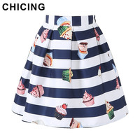 CHICING Cartoon Lolita Cupcake Striped Print Mini Skirts Womens 2017 Summer High Waist Ball Gown Pleated Girls Saia A1605034