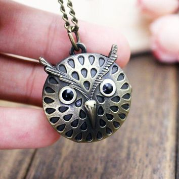 1pcs Retro Owl shape Quartz Pocket Watch with Free Chain Antique Vintage Animal Pendant Key Ring Men Gift
