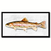 Rainbow Trout Fish White Canvas Print Picture Frame Gifts Home Decor Nautical Wall Art