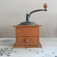 Vintage Coffee Grinder Coffee Antique Coffee Grinder Wooden Grinder Cast Iron Kitchen Decor Housewarming Gift Wedding Gift