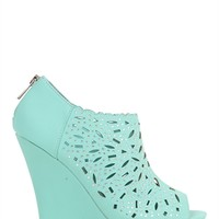 Open Toe Platform Wedge with Shielded Cutout Upper and Stones