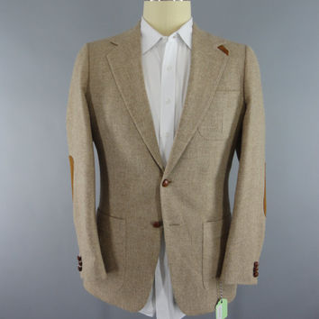 Vintage 1970s Tweed Blazer / 70s Wool Jacket / 1980s Wool Sports Coat / Tan Herringbone Tweed / Suede Elbow Patch / Palm Beach Keleher Ltd.