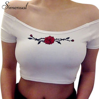 Summer style off shoulder crop top t-shirts for women print floral rose white female t-shirt sexy s