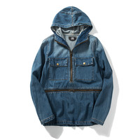 Men's Fashion Boyfriend Denim Zippers Patchwork Hats Jacket [7929488195]