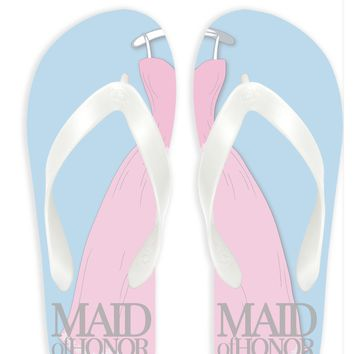 Maid of Honor with Blue Background Flip Flops