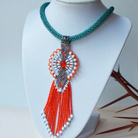 Bright bead crochet necklace with micro macrame pendant, beaded crochet rope, fringe necklace, statement necklace, orange teal white, unique