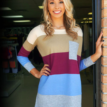 Colorblock Sweater - Camel Berry Periwinkle