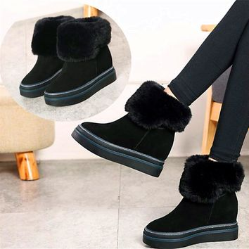 Winter suede leather increased 8cm women boots snow boots wedge